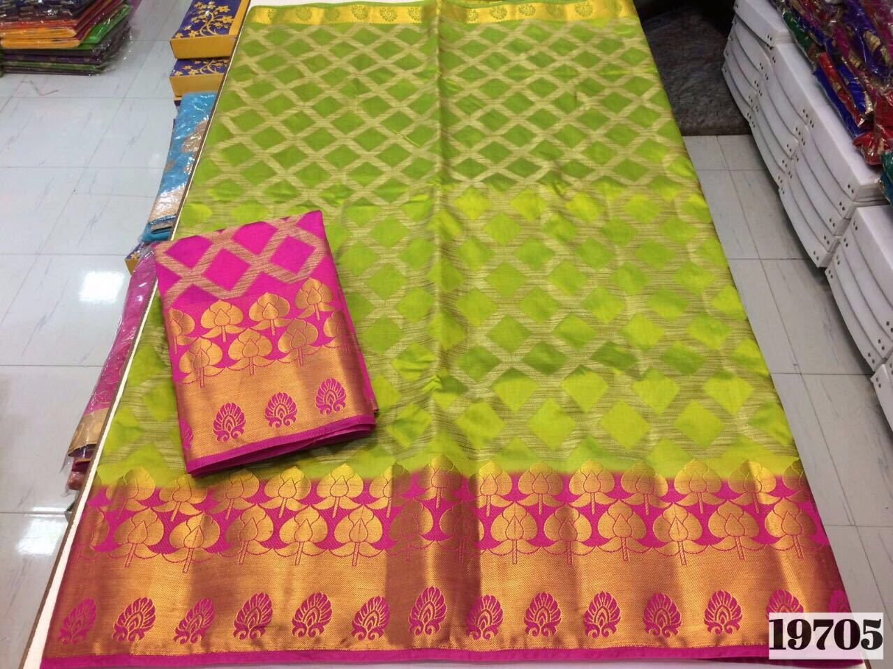 Pure Tussar Silk Saree with Contrast Blouse