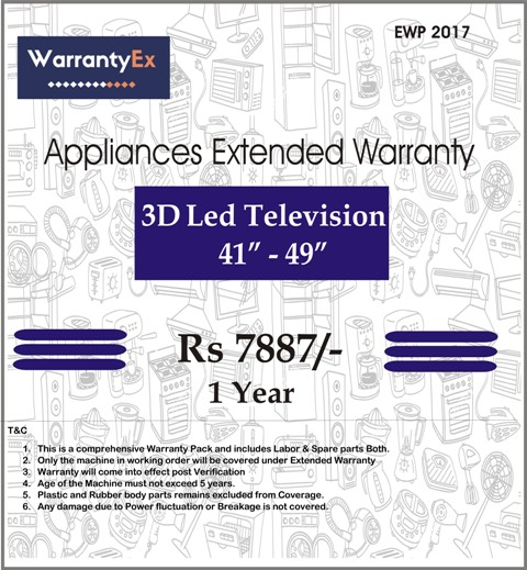 "Extended Warranty for LED 3D 41""-49"""