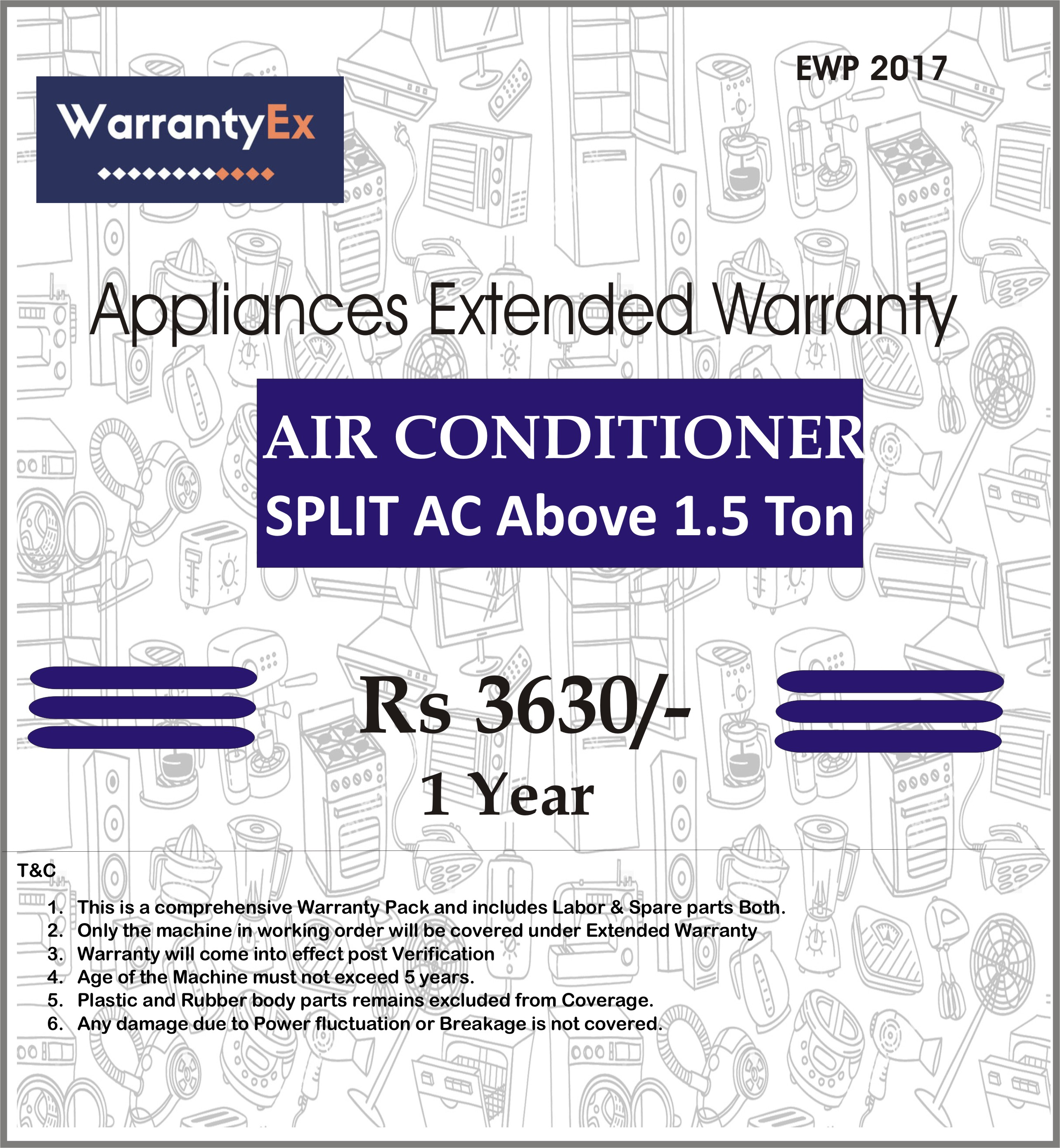 Extended Warranty for Air Conditioner Upto 2 tonn