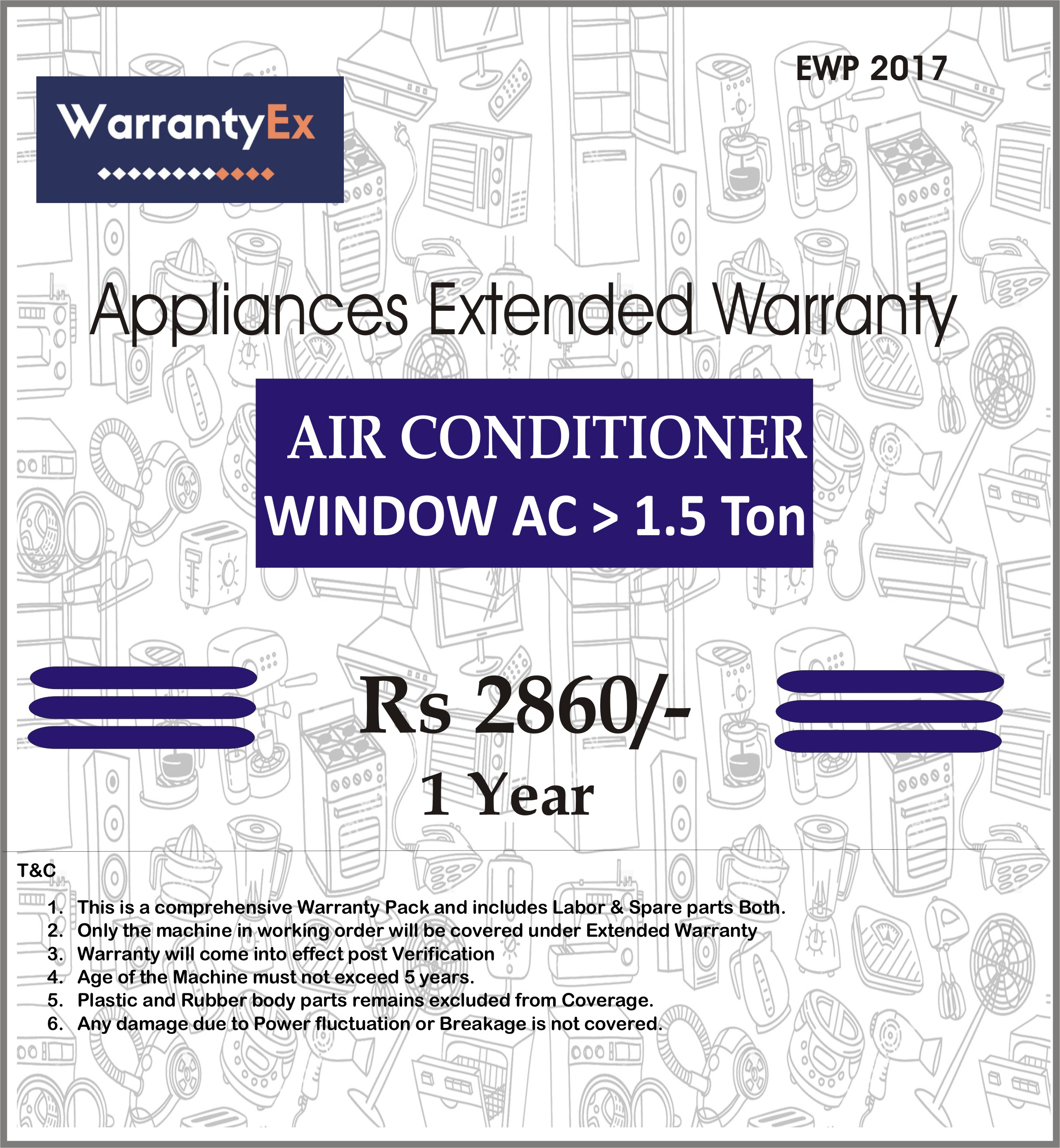 Extended Warranty for  Window AC upto 2 tonn