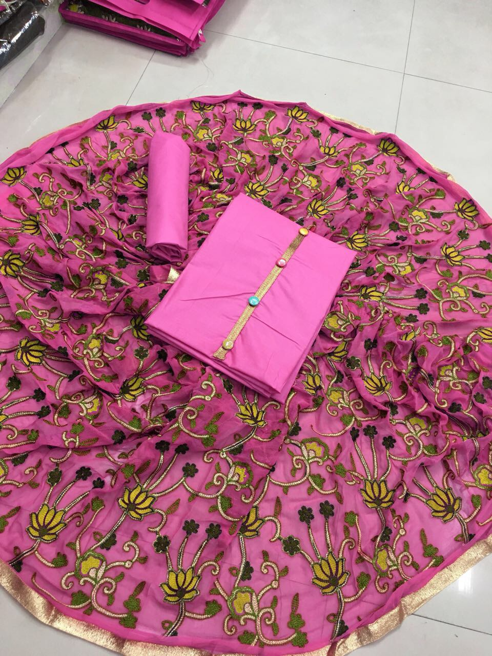 Cotton Dress material with naznin heavy Dupatta