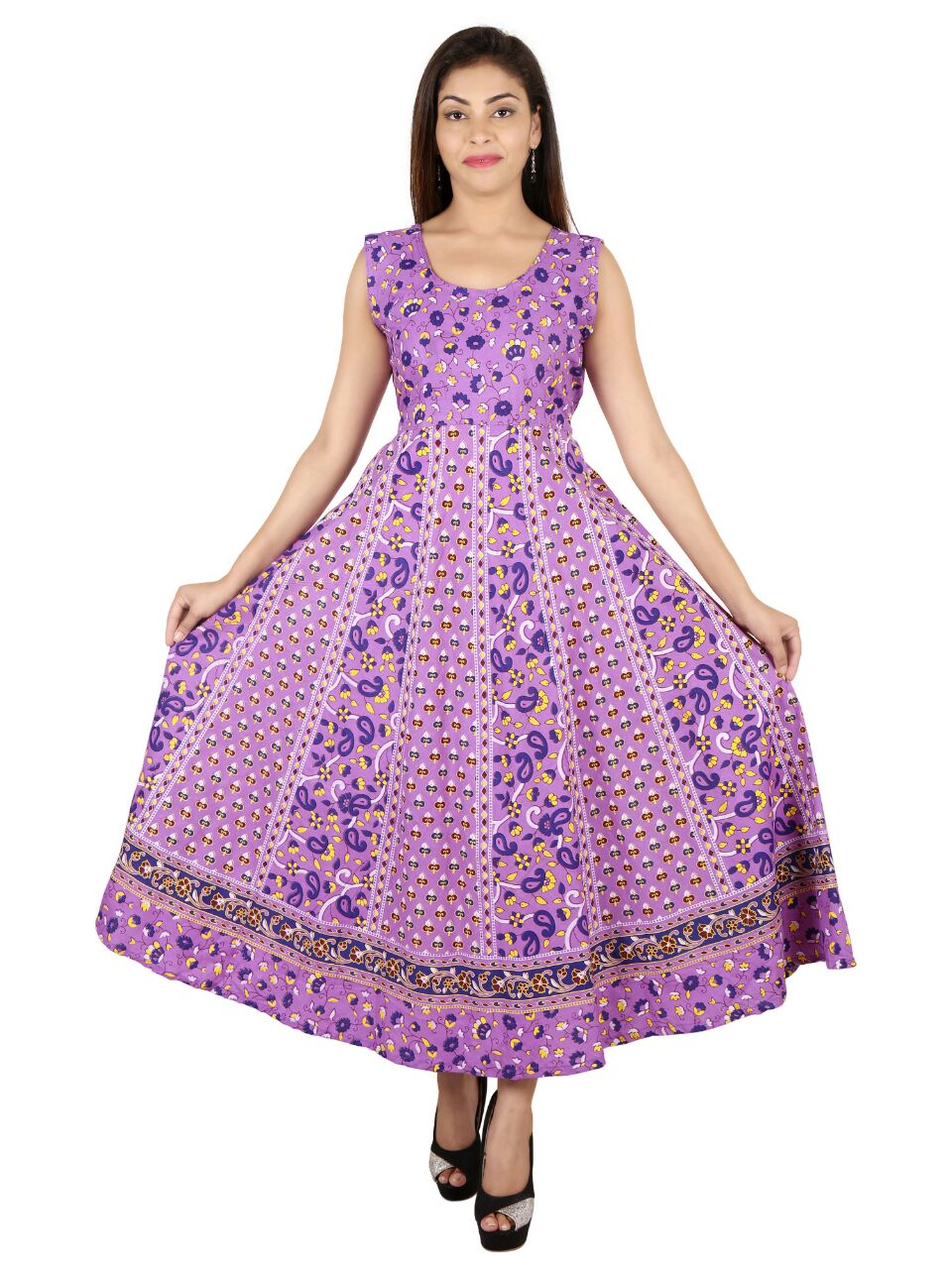 Purple Cotton Printed Frock