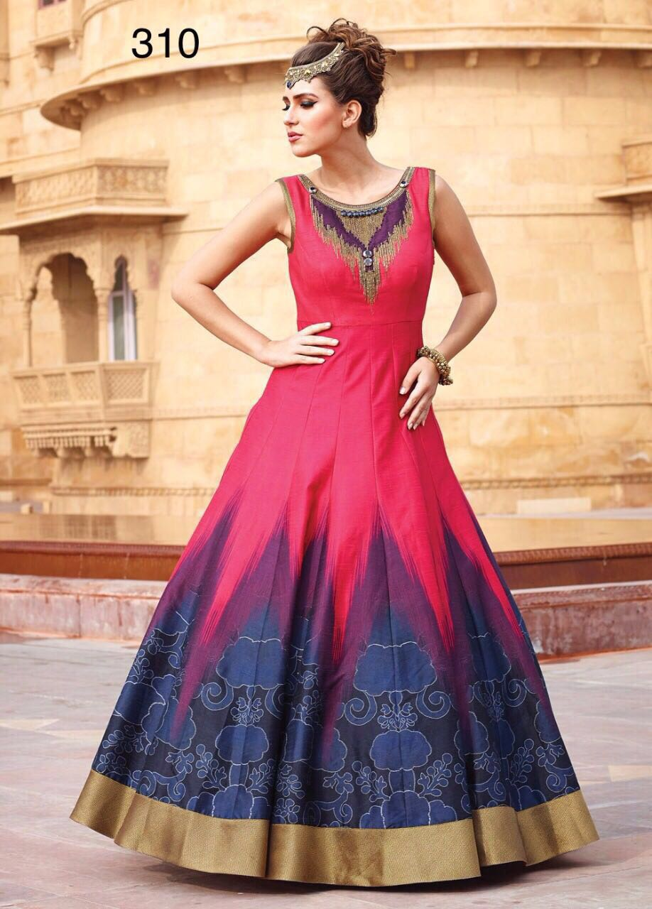 Pink& Blue Chanderi Stylish Partywear Gown