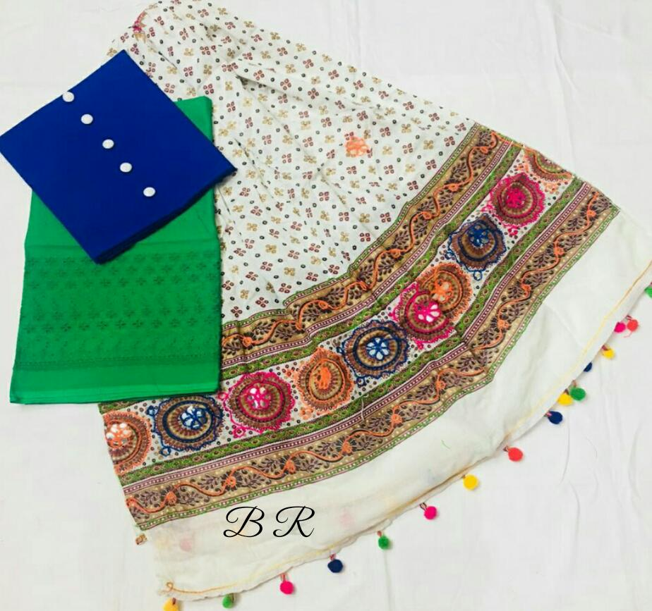 Camric Cotton Suit with kutch work Dupatta