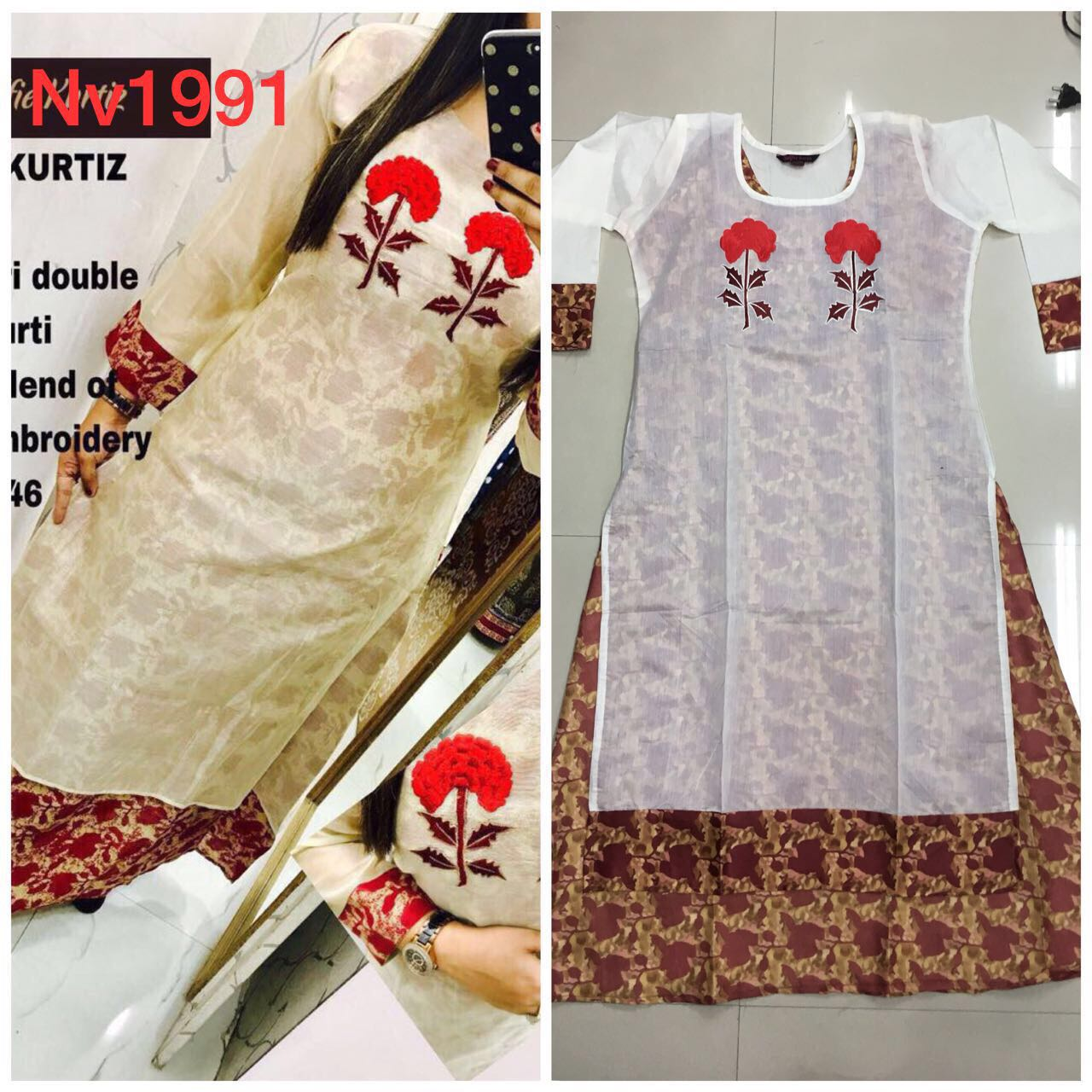 NV-1526 Chanderi Double Layer Kurti