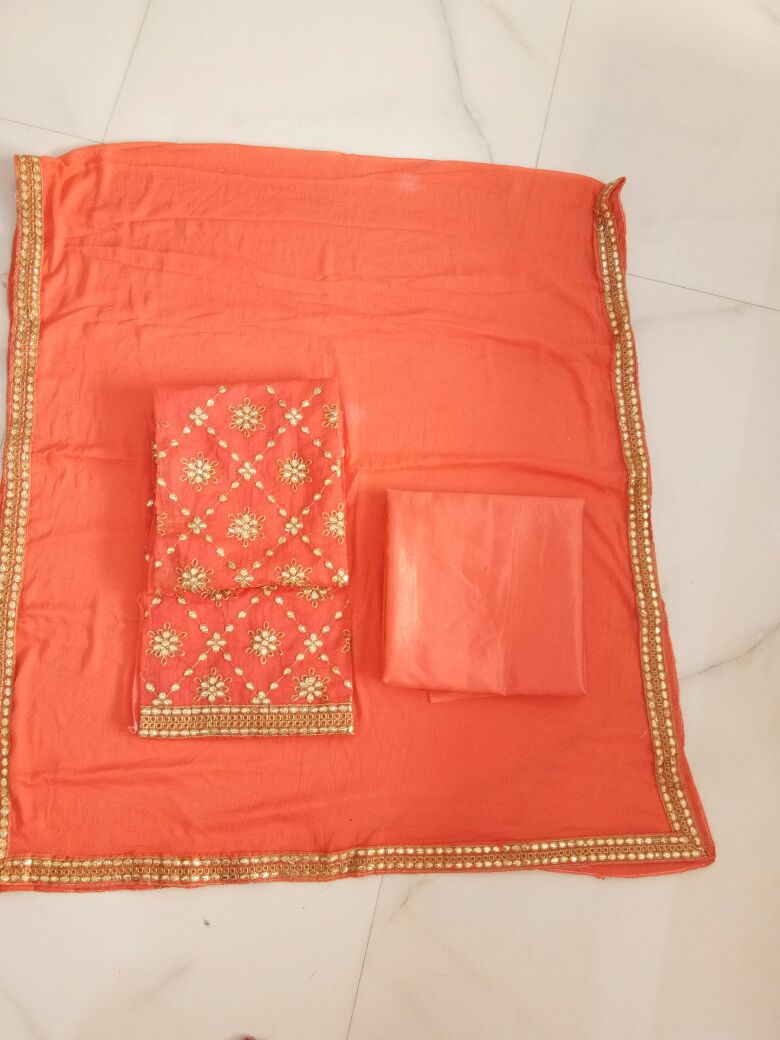 Chanderi Gota patti work suit