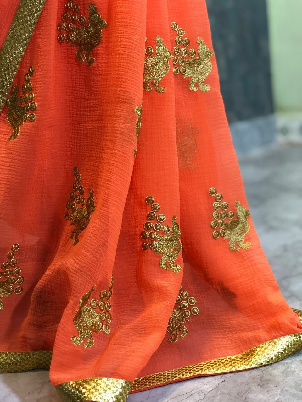 Heavy &soft Marbal silk  saree with fency Border