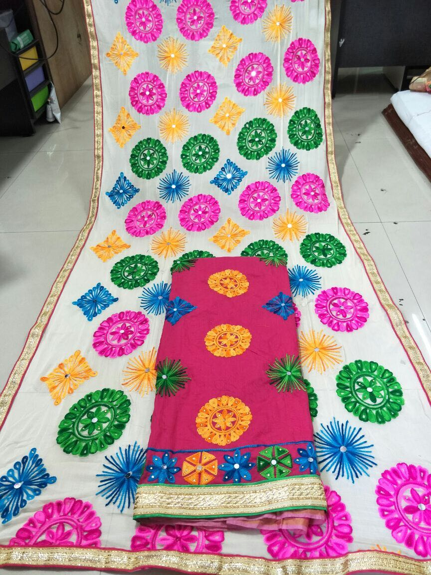 Chanderi silk suit with mirror work dupatta